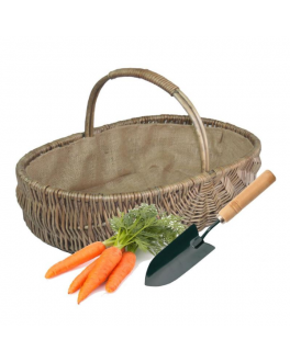 Large Wicker Garden Trug with Lining