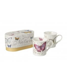 Set of 2  Butterfly Butterflies Porcelain Mugs Cups in a Gift Box