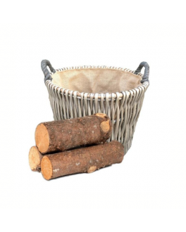 Round Willow Log Basket with Hessian Lining