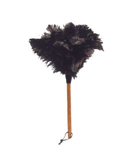 Ostrich Feather Duster with Beechwood Handle, Black, 50cm