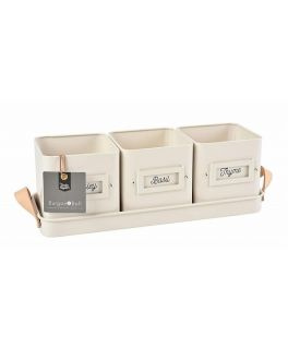 Set of 3 Stone Cream Herb Pots in a Leather Handled Tray