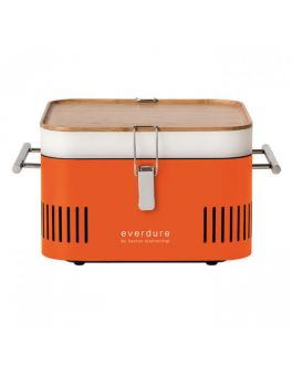 Cube Portable Charcoal Barbeque Grill in Orange