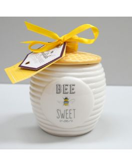 White with Yellow Lid Bee Happy Bee Sweet Sugar Pot