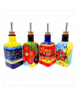 Traditional Spanish Square Oil Drizzler, Various Colours 250ml by Divine Deli