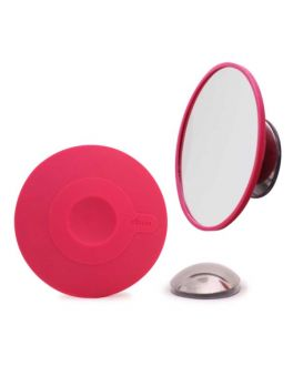 Suction Cup Mounted Detachable Mirror 10x Magnification Pink