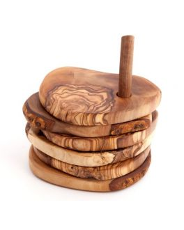 Set of 5 Olive Wood Coaster with Stand