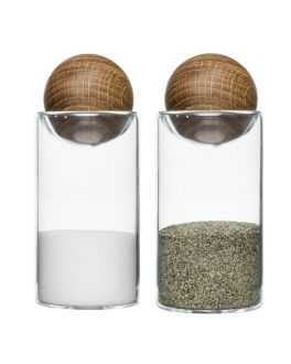 Oval Oak Salt and Pepper Shaker Set with Stoppers