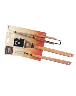 3 Piece BBQ Tool Set with Long Reach Wooden Handles