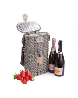 2 Bottle Wicker Picnic Basket with Chiller Compartment