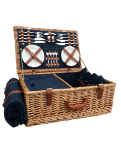 """23"""" Fitted Deluxe Blue Tweed Picnic Hamper & Blanket for 4"""