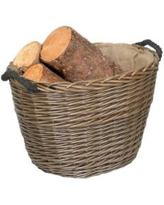 Oval Willow Log Basket with Hessian Lining