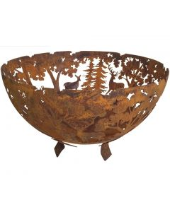 Woodland Scene Large Bowl Fire Pit in Cast Iron