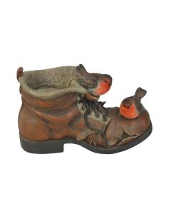 Winter Boot Pot Planter with Robins Ornament