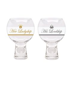 Her ladyship & His Lordship glass bubble gin glasses