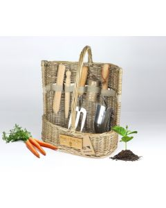 'Mum, I Pick You'  Large Willow Gardening Trug with Tools