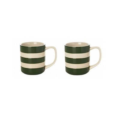 Coffee Mugs 10oz Set of 2 in Adder Green and White Stripes