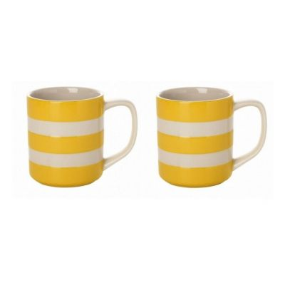 Coffee Mugs 10oz Set of 2 in Buttercup Yellow and White Stripes