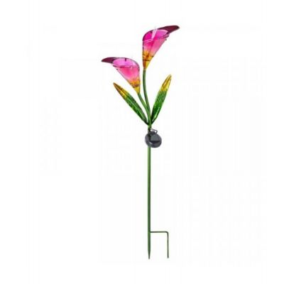 Outdoor Solar Light Up LED Garden Pink Calla Lily Flower