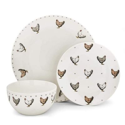 Rustic Family Dinner Set with Farmhouse Chicken Pattern 12 Piece
