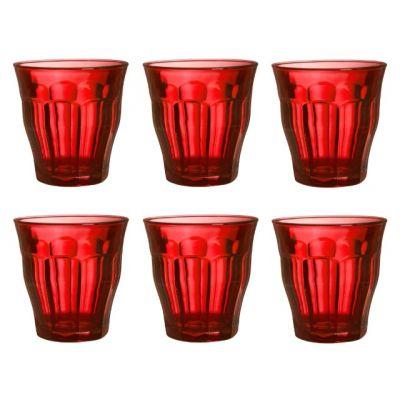 Set of 6 Tumblers in Red Glass 250ml from the Picardie Range