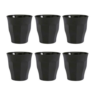 Set of 6 Tumblers in Soft Touch Black Glass 250ml from the Picardie Range