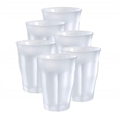 Set of 6 Clear Frosted Glass Tumblers 36cl from the Picardie Range