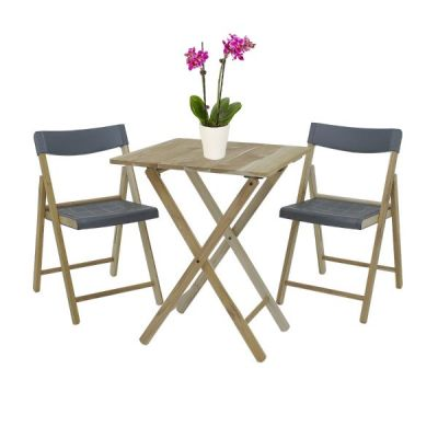 Outdoor Garden Folding Teak Wood and Grey Bistro Table and 2 Chairs Set