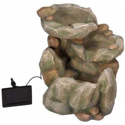 Solar Rock Fall Water Fountain Feature