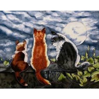 Cat Whispers | Lovely Wall Plaque Hand Crafted Art Ceramic Wall Tile