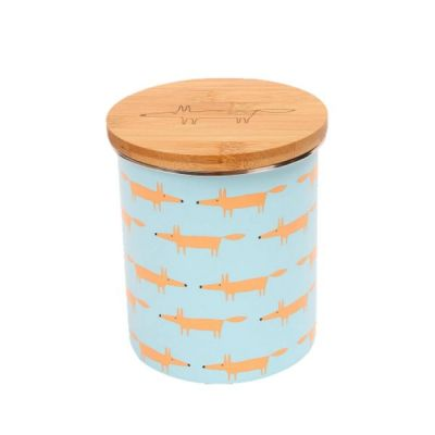 Mr Fox Storage Jar with Bamboo Lid in Multi Print