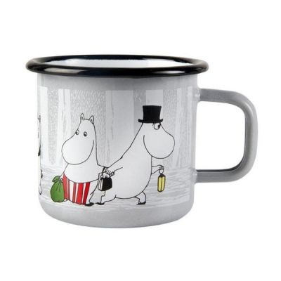"""Moomin Friends Mug with """"Winter Trip"""" Design in White 37cl"""