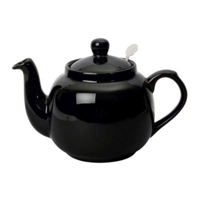 "Traditional 4 Cup Ceramic Filter Teapot ""Gloss Black"" Design"
