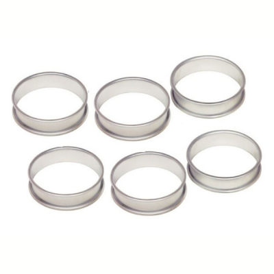 Set of 6 Silver Anodised Crumpet Rings