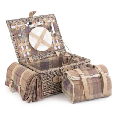 Lavender Tartan 2 Person Picnic Basket with Chiller Compartment