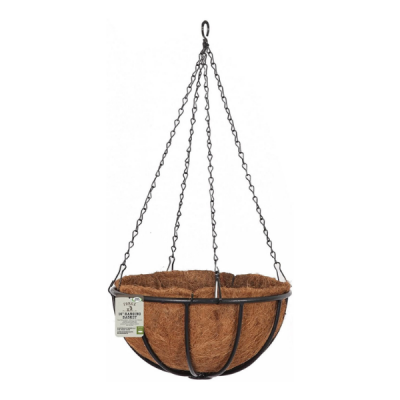 Coco-Lined Forge Hanging Basket