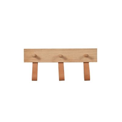 Kelson 3 Peg Oak Rail with Natural Leather Loops