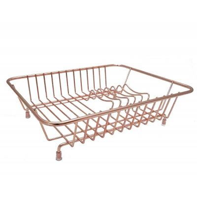 Plastic Coated Compact Flat Dish Sink Drainer in Rose Gold