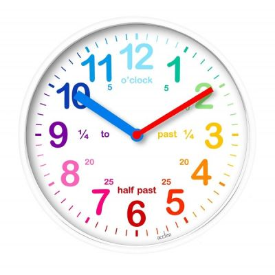 Wickford Kids Childrens Wall Clock Rainbow Colours in White