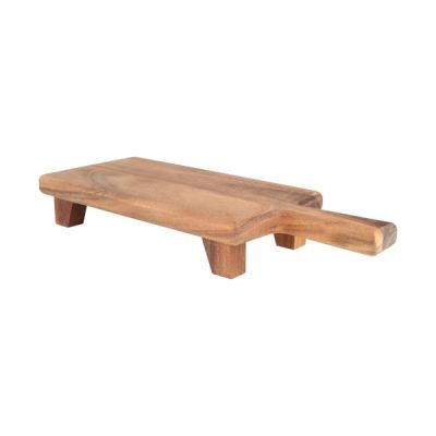 Baroque Rectangular Paddle Chopping Serving Cutting Board with Feet in Rustic Acacia