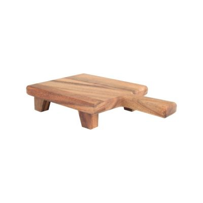 Baroque Square Paddle Chopping Serving Cutting Board with Feet in Rustic Acacia