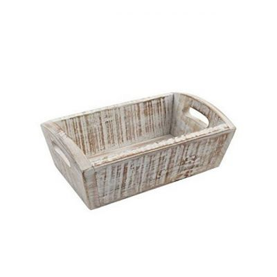 Deep Storage Tray in White Acacia Wood