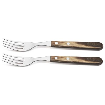 2 Heavy Duty Steak Forks with Wooden Handle