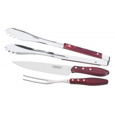 3 Piece BBQ Carving Set in Red