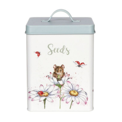 Seed Tin with Mouse & Floral Design