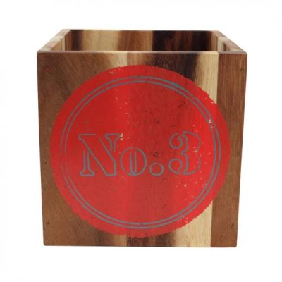 Colour by Numbers Rustic Acacia Storage Box No 3, Terracotta Red
