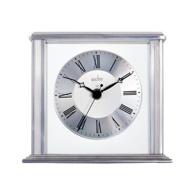 Hamilton Mantel Clock with Floating Effect Metal Dial in Silver