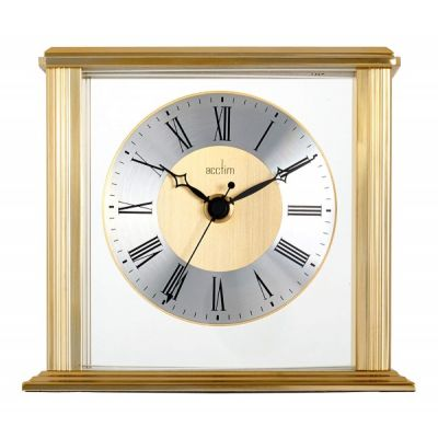 Hamilton Mantel Clock with Floating Effect Metal Dial Brass Effect