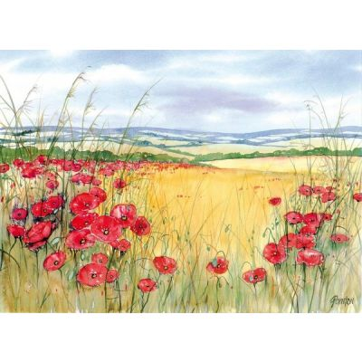 Large Glass Textured Worktop Saver In Red Poppies Poppy Field Design