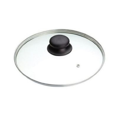Vented Glass Saucepan Lid 24cm with Stainless Steel Rim