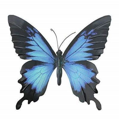 Blue & Black Large Metal Hanging Butterfly Ornament